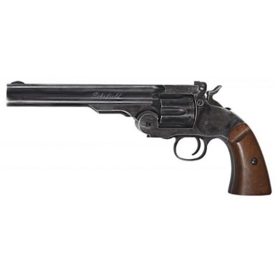 "Schofield 6"" Black Wood Revolver .177"