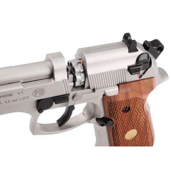 Umarex Beretta M92 FS Nickel with Wooden Grip